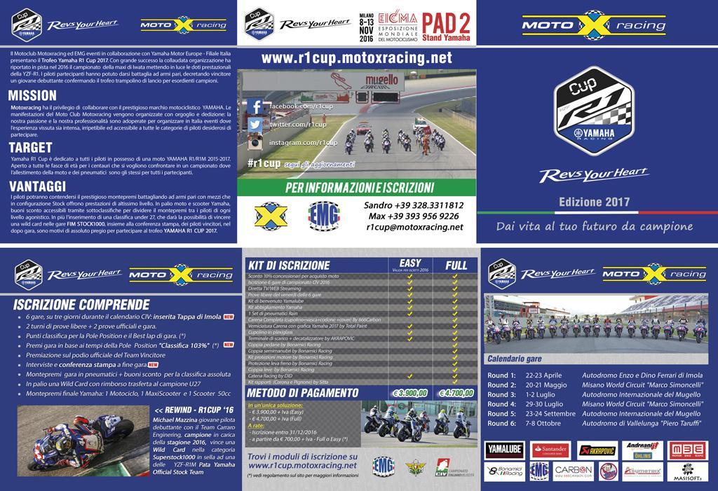 Realizzazione pieghevole 6 facciata piega portafoglio - Trofeo Yamaha R1 CUP 2017